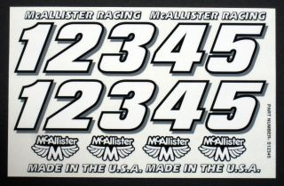 Number Decal Set for RC Cars Sprints Late Models Stock Cars Dirt Oval