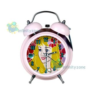 Princess Aurora Belle Twin Bell Alarm Desktop Clock w Light New