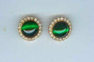 Vtg Striking Wm DeLillo NY Emerald Green Gripoix Glass Crystal