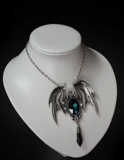 Restyle Della Morte Blue Dragon Wings Gothic Necklace Pendant
