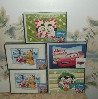 Disney Christmas Cards Lot of 5 Boxes 10 Cards with Verse Each Box New