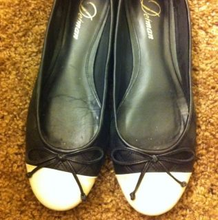 Delman Falcon Quilted Ballet Flats Black White Size 8 celebrity style