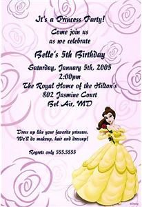 Inscribe Disney Princess Belle Party Invitation