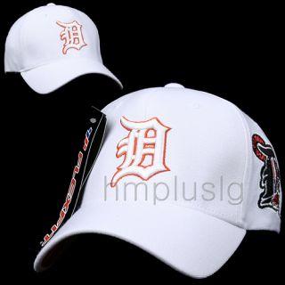 Detroit Tigers Flex Fit Baseball Ball Cap Hat MB White