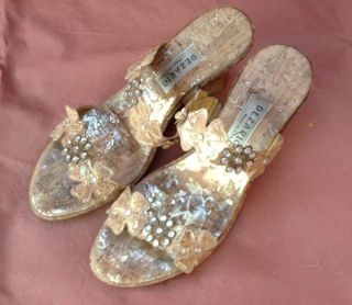 Dezario Metallic Gold and Rhinestone Floral Strap Womens Sandals Size
