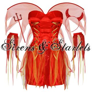 Red Devil Halloween Fancy Corset Dress Horns Outfit Costume