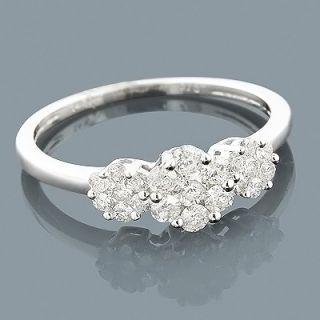 Flower Rings 14k Diamond Cluster Ring 0 60ct