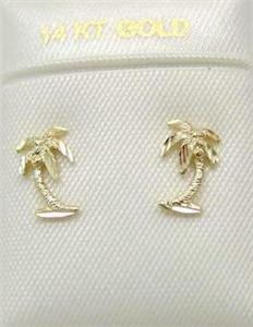 Solid 14k Gold Small Diamond Cut Palm Tree Earrings