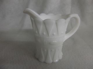 White MIlk Glass Creamer Pitcher Kemple Glass Lace & Dewdrop