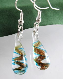 Lucency Dichroic Foil Murano Art Glass Dewdrop Pendant Earrings