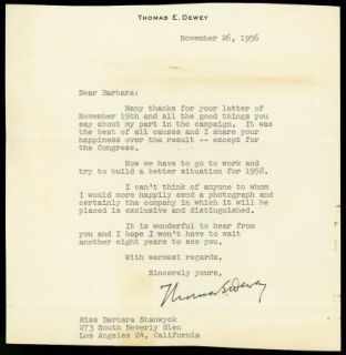 Thomas Dewey Vintage Original 1956 Typed Letter Signed to Barbara