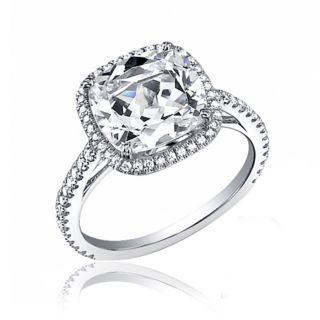 Halo Cushion Cut Diamond Engagement Ring 2 54 Ct 18K White Gold