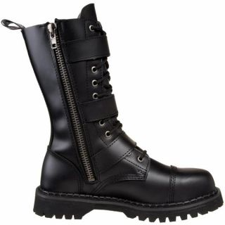 Demonia Mens Platform Goth Punk Black Leather Calf Buckle Boots Riot