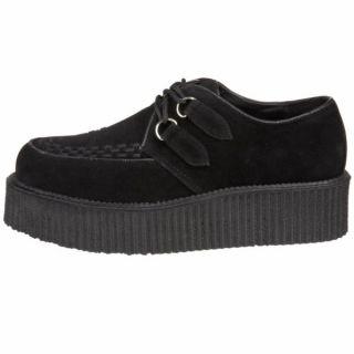 Demonia Black Suede 2 Platform Creeper Shoes Mens Unisex V Creeper