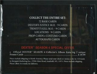 Dexter Series 4 Factory SEALED Box Breygent Costume and Prop Cards New