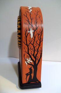Handpainted HALLOWEEN CLOCK   OOAK Demy HP Witches Black Cat Headless