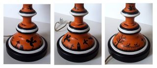 Halloween Metal Lamp OOAK Witches Ghosts Black Cats by Demy HP