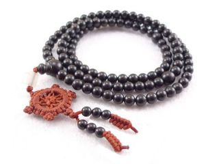 108 6mm Black Sandalwood Dharma Wheel Prayer Beads Mala Necklace  24