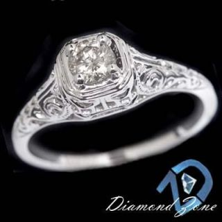 DIAMOND SOLITAIRE VINTAGE FILIGREE ART DECO ENGAGEMENT WHITE GOLD RING
