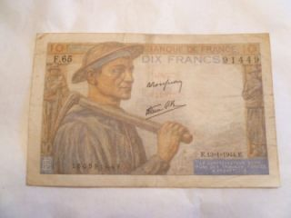1942 10 francs dix francs note banque de france