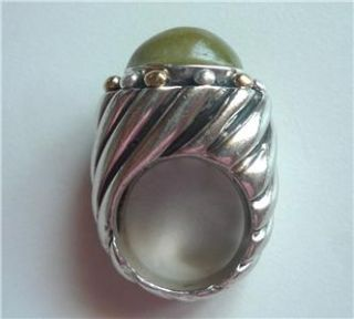 Bold Dian Malouf Sterling 14k Gold Bead Swirl Turquoise Ring REDUCED