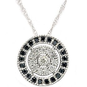 36ct AAA Black White Diamond Circle Round Pave Pendant White Gold 18