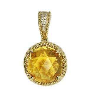 Textured Yellow Gold Diamond 8 73C Citrine Pendant Necklace