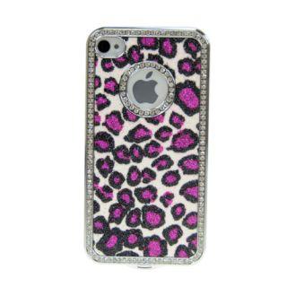 Bling Diamond Purple Leopard Chrome Hard Case Cover For iPhone 4 4S 4G