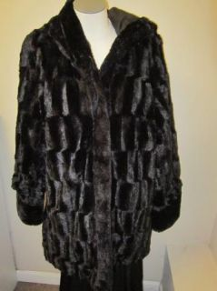 Dennis Basso Reversible Textured Faux Fur Hooded Coat L Black