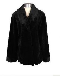 Dennis Basso Black Faux Rabbit Shawl Collar Jacket Scalloped Trim 3X
