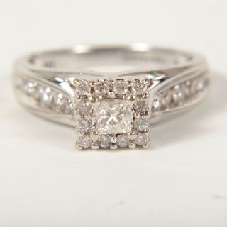 Ladies 14k White Gold Keepsake Diamond Engagement Ring 1cttw Size 7
