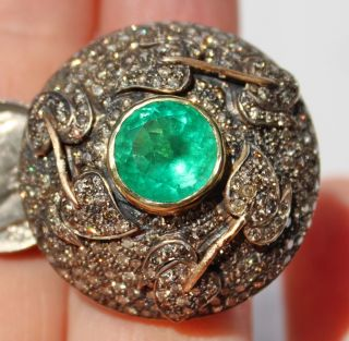LARGE ANTIQUE 14K EMERALD PAVE DIAMOND DOME RING LOADED WITH DIAMONDS