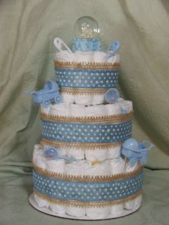 Tier Diaper Cake Its A Boy Blue Baby Shower Centerpiece