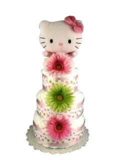 Hello Kitty Baby Shower Diaper Cake Centerpiece Gift Set (3 Tier, Pink