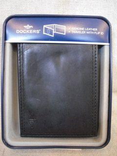 Dockers Black Leather Traveler Wallet w Flip Out ID