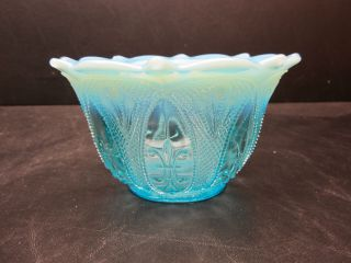 Vintage Northwood Diamond Point Fleur de Lis Blue Opalescent Bowl