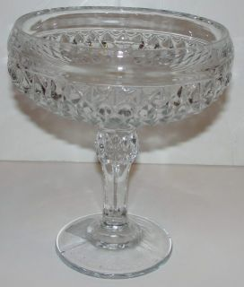 Indiana Glass 7811 FTD Diamond Point Compte Pedestal Crystal Bowl Dish