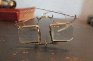 Antique Early 1900s Magnifying Doctors Eye Glasses Steampunk