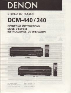 Denon Original DCM 440 340 CD Player Owners Manual