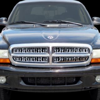 Dodge Dakota 97 04 Chrome Flame Fire Grille Insert Stainless Steel