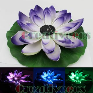 Garden Pool Solar Powered LED Lotus Landscape Flower Light Lamp