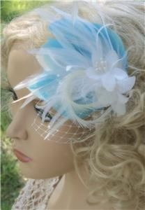 Bridal Wedding Hair Clip, Feather Fascinator, French Netting  DIANNE
