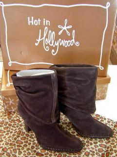 Hot in Hollywood Chocolate Brown Suede Slouchy Ankle Boots