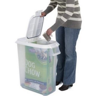 Tight Rolling Pet Dog Food Plastic Container Dispenser up to 60 lb Bag