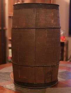 Antique Primitive WOOD Wooden NAIL BARREL Hardware Old Vintage