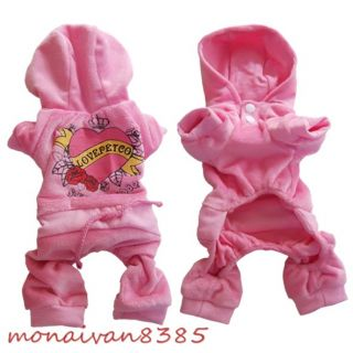 Heart Velvet Dog Jumpsuit Pajamas Dog Coats Dog Clothes Pet Apparel