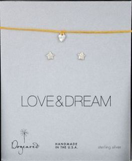 Dogeared Love and Dream Silver Bracelet and Earring Set