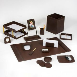 Chocolate Brown Leather 16 Piece Desk Set