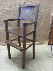 Wooden Doll High Chair  Antique Toy Old Dolly Highchair Girl Boy 7348