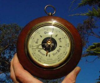 Wall Barometer Wood Case Dome Glass West Germany RARE